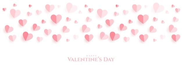 Bannière De Beau Papier Coeurs Joyeux Saint Valentin Vecteur gratuit