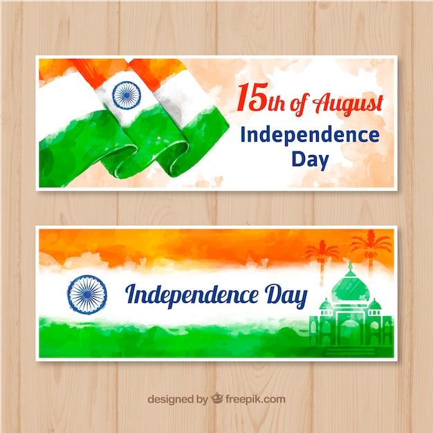 Bannière de belle journée inde indépendance vente dans un style aquarelle Vecteur gratuit