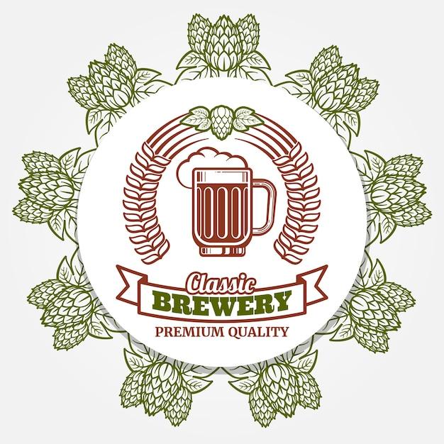 Bannière De Bière Ronde Avec Houblon Et étiquette De Bière Vecteur Premium