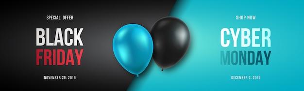 Bannière black friday et cyber monday. Vecteur Premium