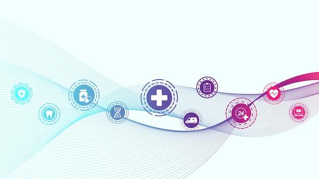 Bannière Bleue Abstraite Médicale Et Scientifique De Soins De Santé Vecteur Premium