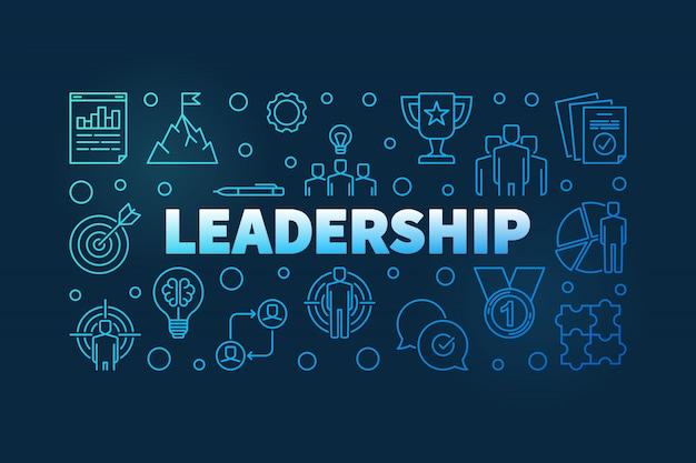 Bannière bleue de concept de leadership Vecteur Premium
