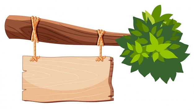Bannière en bois isolée sur fond blanc Vecteur gratuit