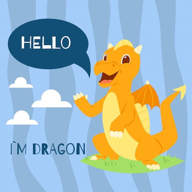 Banniere Bonjour Bebe Dragontext Ailes De Personnage Drole De Dessin Anime Vecteur Premium