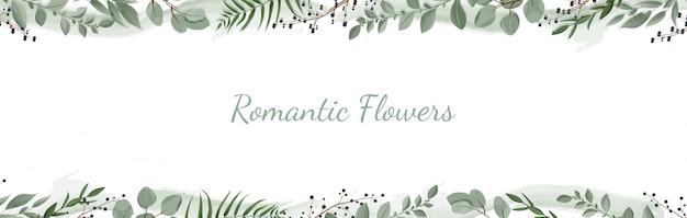 Bannière botanique horizontale. Vecteur Premium