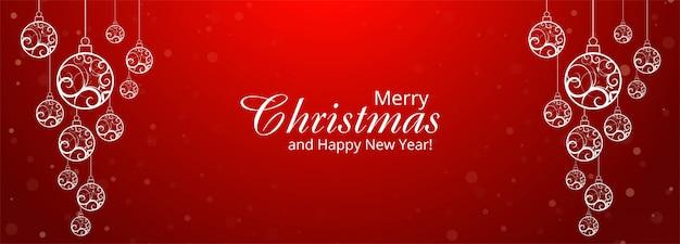 Bannière Boule Décorative De Noël Sur Le Rouge Vecteur gratuit