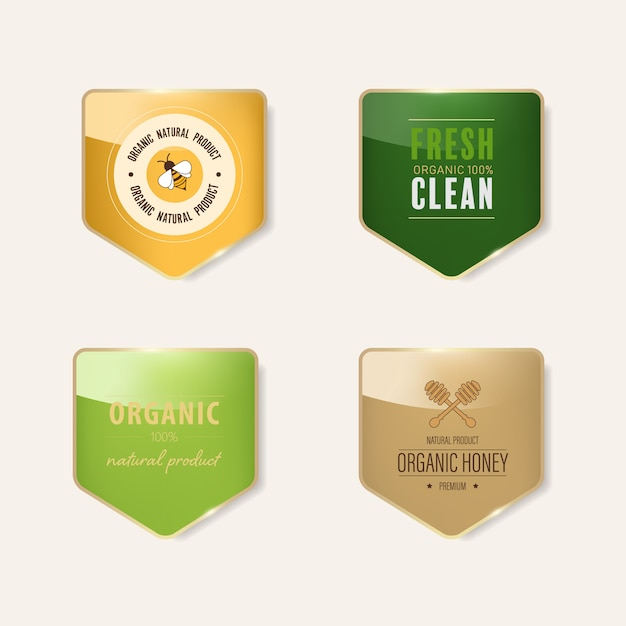 Bannière brillante avec cadre en métal doré. conception de badges vintage. Vecteur Premium