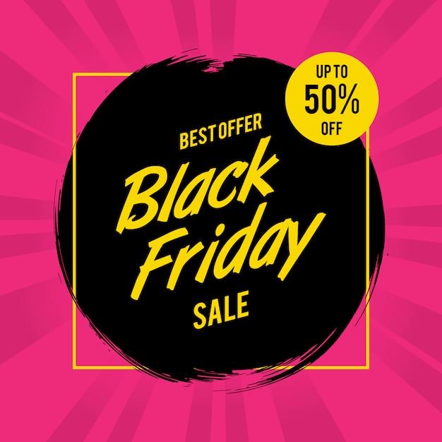 Bannière de brosse vente vendredi noir Vecteur Premium