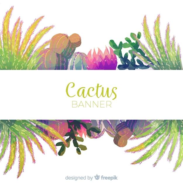 Bannière de cactus aquarelle Vecteur gratuit