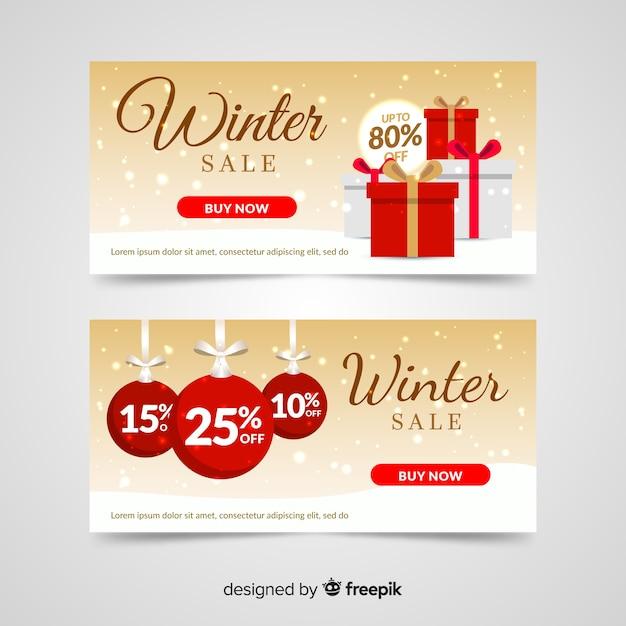 Bannière de cadeau d'hiver Vecteur gratuit