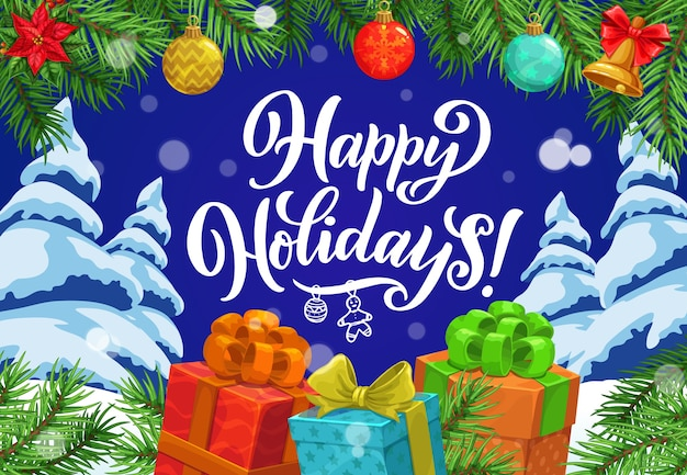 Bannière De Cadeaux De Noël Avec Des Bordures De Guirlandes D'arbres De Noël Vecteur Premium