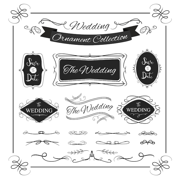 Bannière de cadre calligraphique mariage bannière ornemental pour design vintage Vecteur Premium