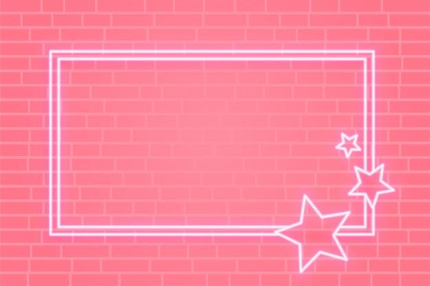 Bannière De Cadre étoile Néon Rose Avec Espace De Texte Vecteur gratuit