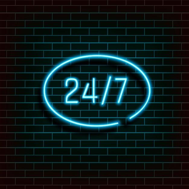 Bannière De Cadre En Forme D'ellipse. Open 24 7 Hours Neon Light Sur Le Mur De Briques Vecteur Premium
