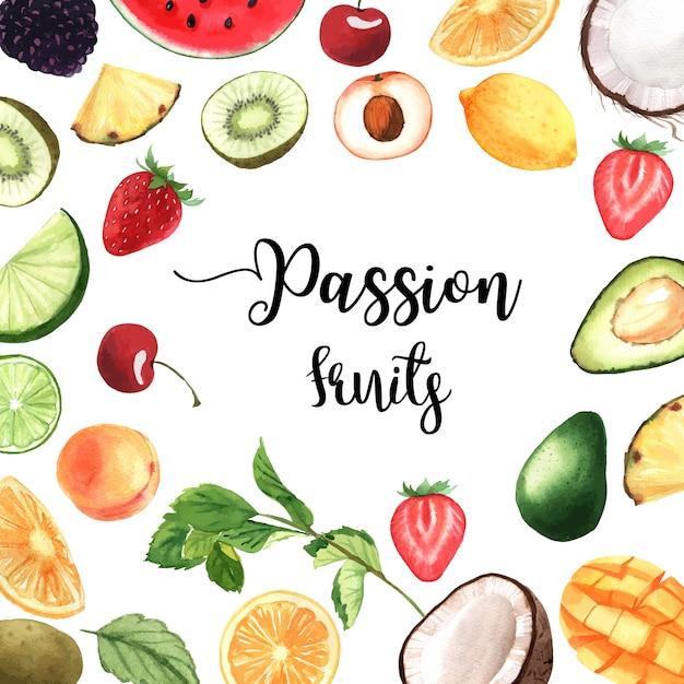 Bannière de cadre de fruits tropicaux avec texte, fruit de la passion avec kiwi, ananas, motif fruité Vecteur gratuit