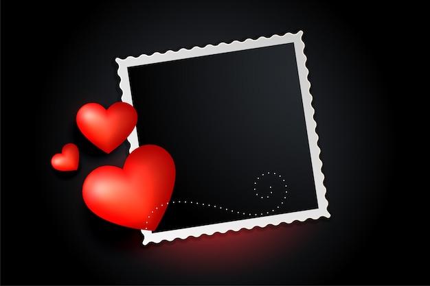 Bannière De Cadre Photo Coeurs Rouges Vecteur gratuit