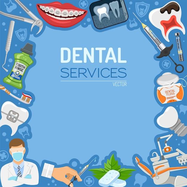 Bannière et cadre des services dentaires Vecteur Premium