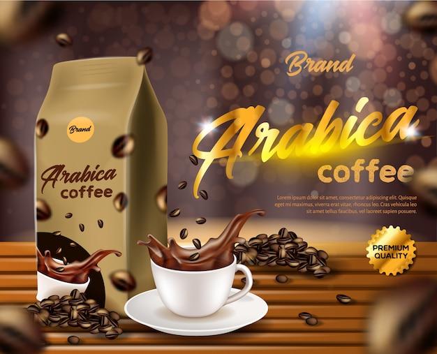 Bannière De Café D'arabica, Sac De Poche De Sachet De Papier D'aluminium Vecteur Premium