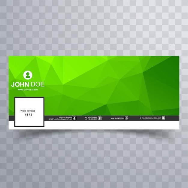 Bannière de calendrier facebook polygone géométrique vert moderne Vecteur gratuit