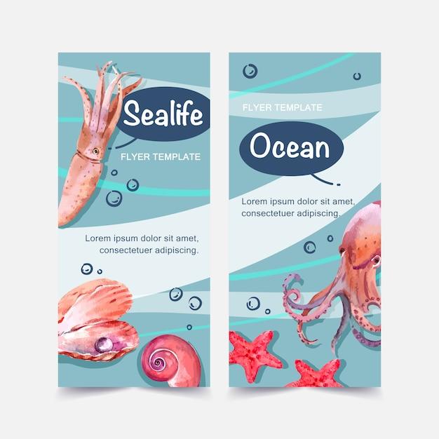 Bannière avec calmar et autres types de vie marine, modèle d'illustration couleur contrastée. Vecteur gratuit