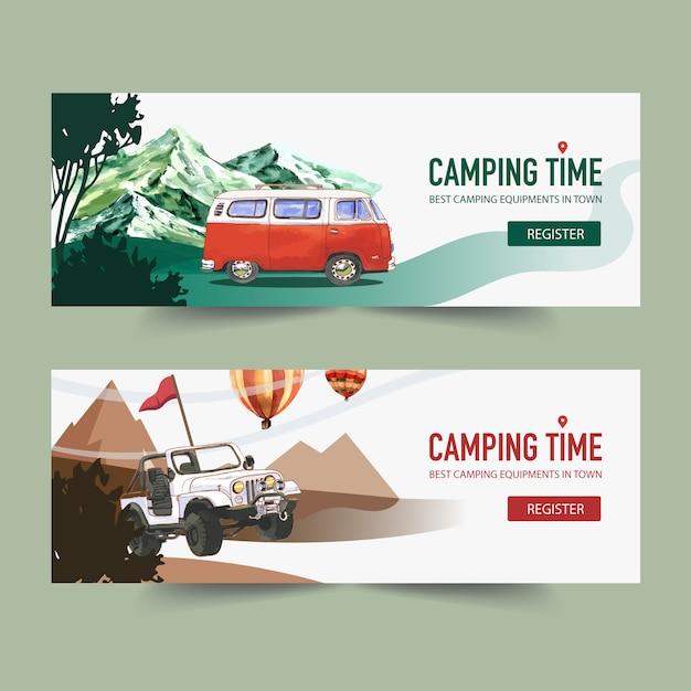 Bannière de camping avec van, montagne et arbre Vecteur gratuit