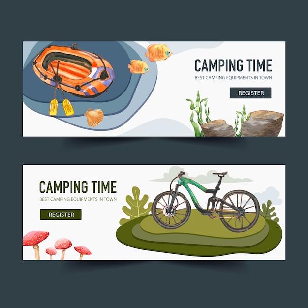 Bannière de camping avec vélo et bateau Vecteur gratuit