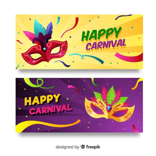 Bannière de carnaval plat Vecteur gratuit