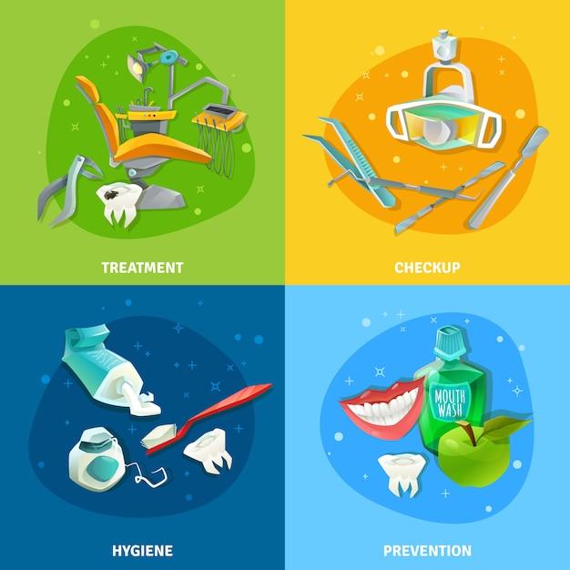 Bannière carrée de dentiste 4 icônes plat Vecteur gratuit