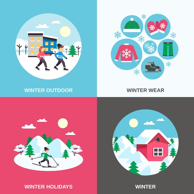 Bannière carrée des icônes plat hiver Vecteur gratuit