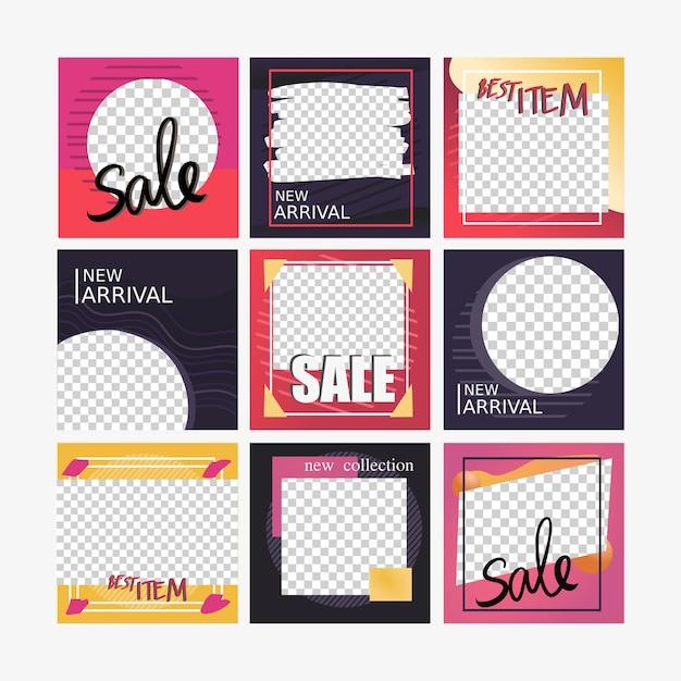 Bannière carrée de médias sociaux pour le marketing Vecteur Premium
