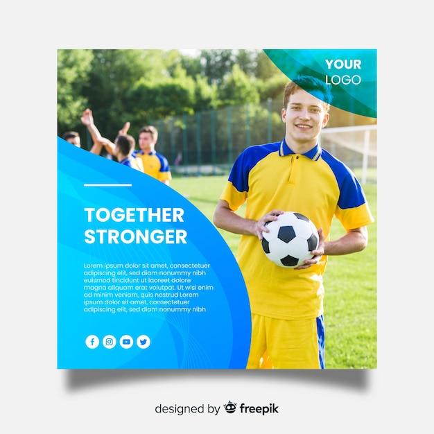 Bannière carrée sport avec photo Vecteur gratuit