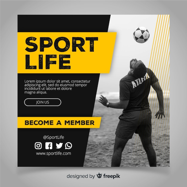 Bannière Carrée Sport Avec Photo Vecteur Premium