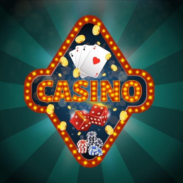 Bannière carrée avec typographie de casino, quatre as Vecteur Premium