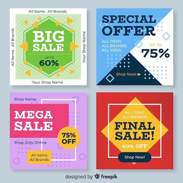 Bannière carrée de vente géométrique pour les médias sociaux Vecteur gratuit