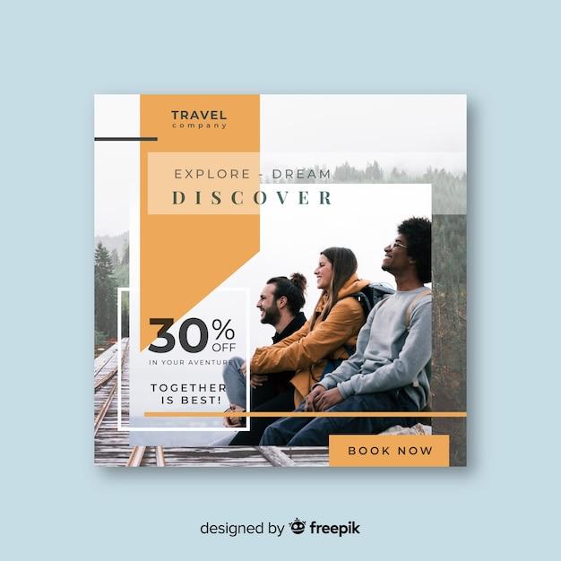 Bannière carrée de voyage avec photo Vecteur gratuit