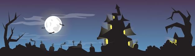 Bannière de carte de cimetière de halloween house Vecteur Premium