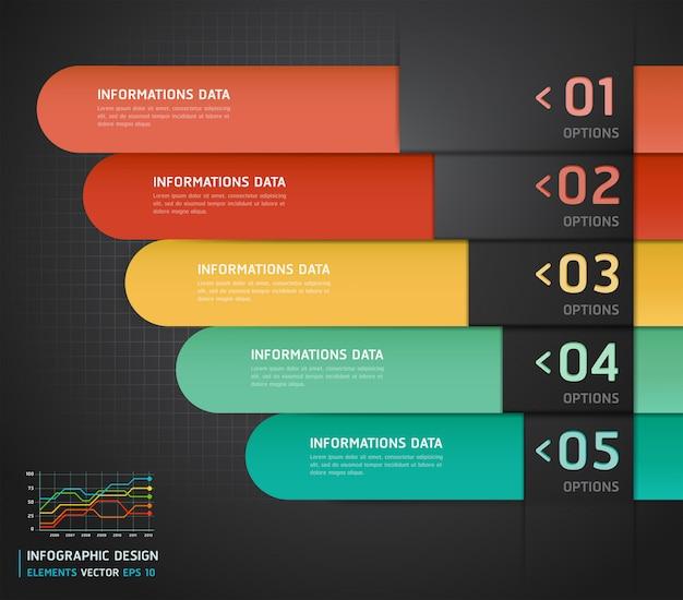 Bannière et carte d'options de nombre d'infographies colorées. Vecteur Premium