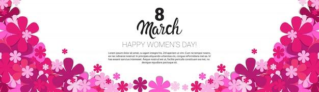 Bannière de la carte de voeux pour la journée internationale de la femme Vecteur Premium