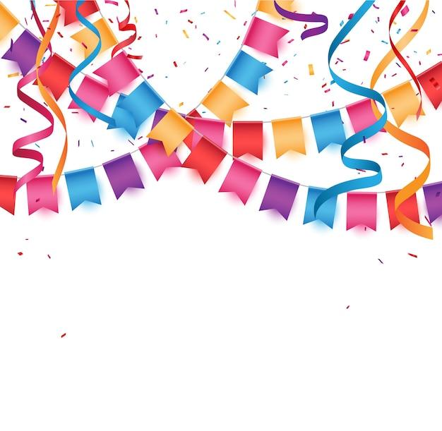 Bannière De Célébration D'anniversaire Avec Des Drapeaux Bunting Colorés Vecteur Premium