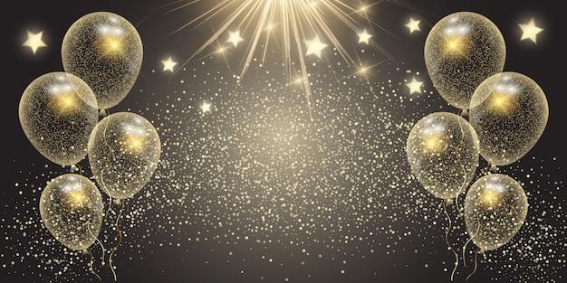 Bannière de célébration avec des ballons d'or et des étoiles Vecteur gratuit
