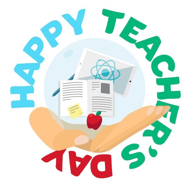 Bannière de célébration de la fête des enseignants Vecteur Premium