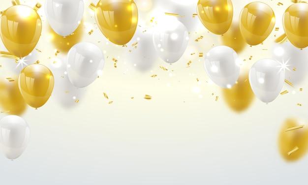 Bannière de célébration fond de ballons d'or. Vecteur Premium