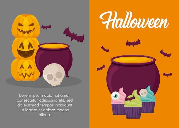 Bannière de célébration d'halloween Vecteur gratuit