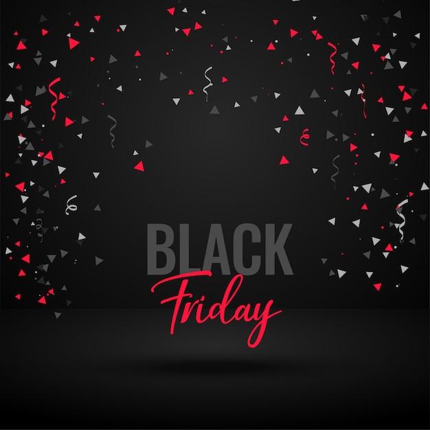 Bannière de célébration vendredi noir avec des confettis Vecteur gratuit