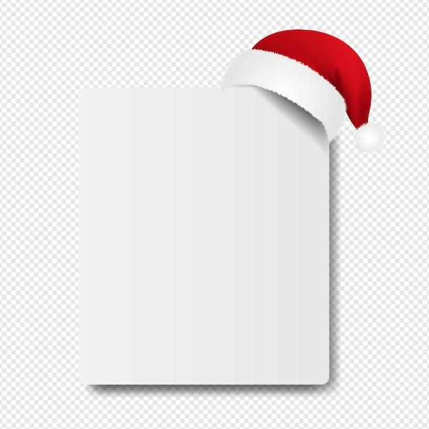 Bannière Avec Chapeau De Père Noël Sur Transparent Vecteur Premium