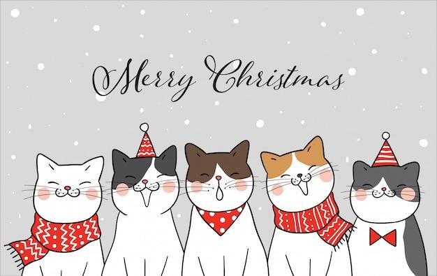 Bannière chat drôle pour le jour de noël dans la neige Vecteur Premium