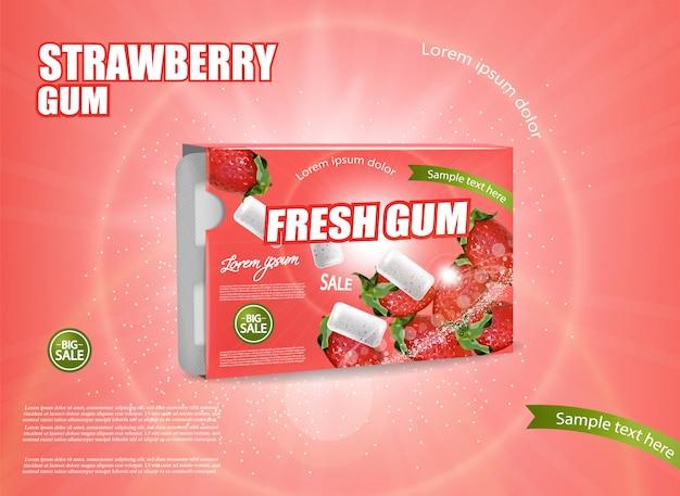 Bannière de chewing-gum fraise Vecteur Premium