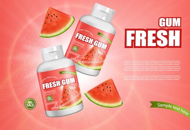 Bannière de chewing-gum de pastèque Vecteur Premium
