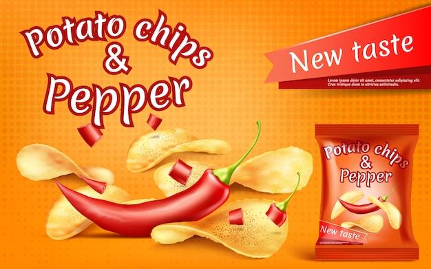 Bannière avec des chips de pommes de terre réalistes et piment rouge Vecteur Premium