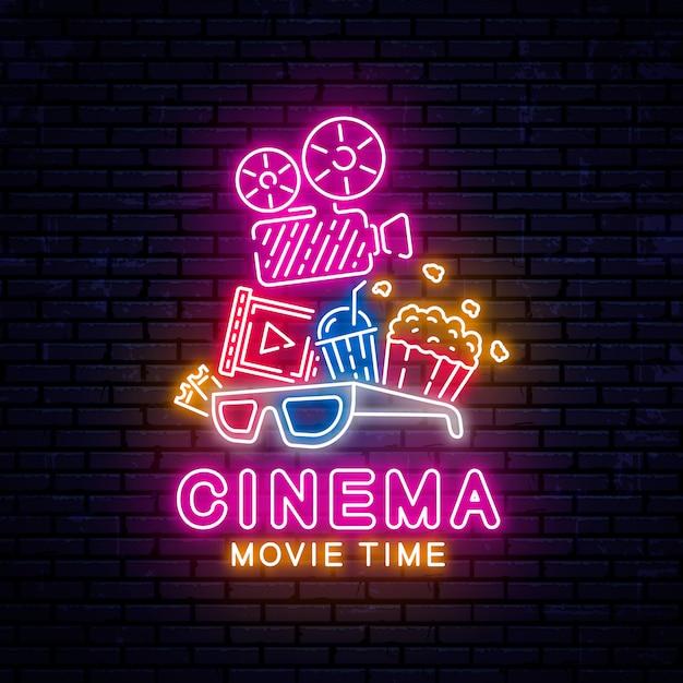 Bannière De Cinéma Néon Lumineux. Vecteur Premium